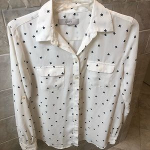 Loft White Utility Blouse with Stars